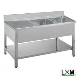Lavatoio in acciaio inox a 2 vasche con sgocciolatoio a sinistra e ripiano prof. 60 cm
