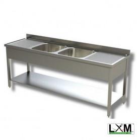 Lavatoio in acciaio inox a 2 vasche con doppio sgocciolatoio e ripiano prof. 70 cm