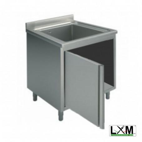 Lavatoio armadiato in acciaio inox ad 1 vasca con porta a battente prof. 60 cm