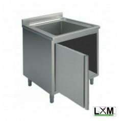 Lavatoio armadiato in acciaio inox ad 1 vasca con porta a battente prof. 70 cm