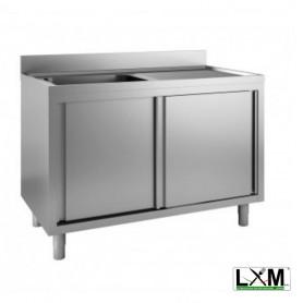 Lavatoio armadiato in acciaio inox ad 1 vasca con sgocciolatoio a destra e porte scorrevoli prof. 60 cm