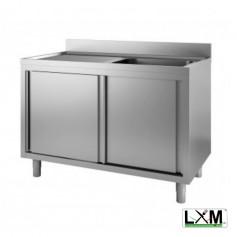 Lavatoio armadiato in acciaio inox ad 1 vasca con sgocciolatoio a sinistra e porte scorrevoli prof. 60 cm