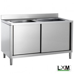 Lavatoio armadiato in acciaio inox con porte scorrevoli a 2 vasche prof. 70 cm