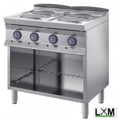 Cucina Professionale Elettrica - 4 Piastre Ø 220 - 10,4 KW - A Giorno