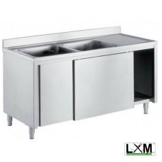 Lavatoio armadiato in acciaio inox con porte scorrevoli a 2 vasche e sgocciolatoio a destra prof. 60 cm