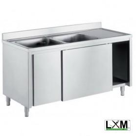 Lavatoio armadiato in acciaio inox con porte scorrevoli a 2 vasche e sgocciolatoio a destra prof. 70 cm