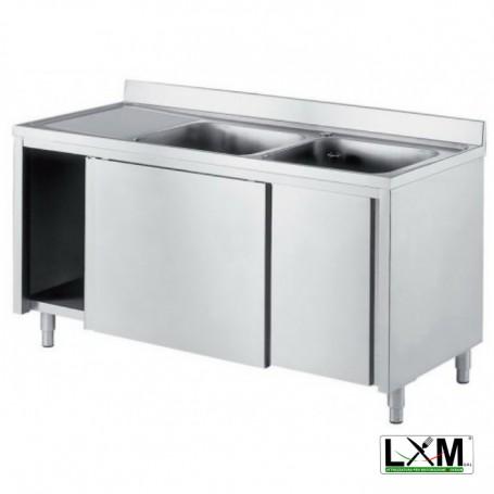 Lavatoio armadiato in acciaio inox con porte scorrevoli a 2 vasche e sgocciolatoio a sinistra prof. 70 cm