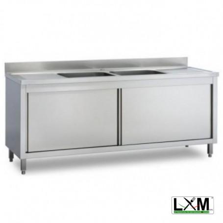 Lavatoio armadiato in acciaio inox con porte scorrevoli a 2 vasche e doppio sgocciolatoio prof. 70 cm