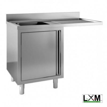 Lavatoio armadiato con porte a battente in acciaio inox ad una vasca con sgocc. a destra e vano lavastoviglie prof. 60 cm