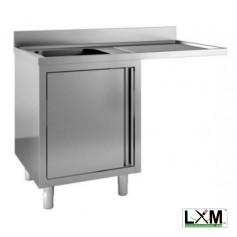 Lavatoio armadiato con porte a battente in acciaio inox ad una vasca con sgocc. a destra e vano lavastoviglie prof. 70 cm