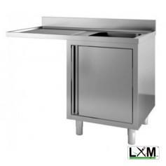 Lavatoio armadiato con porte a battente in acciaio inox ad una vasca con sgocc. a sinistra e vano lavastoviglie prof. 60 cm