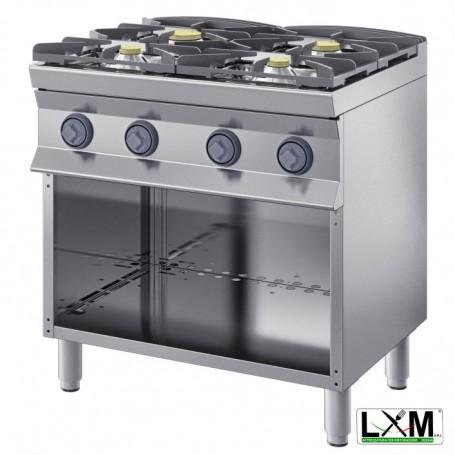 Cucina a fiamma libera - 4 Fuochi A GAS - A Giorno prof 90 cm