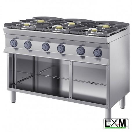 Cucina a fiamma libera - 6 Fuochi A GAS - A Giorno prof 90 cm