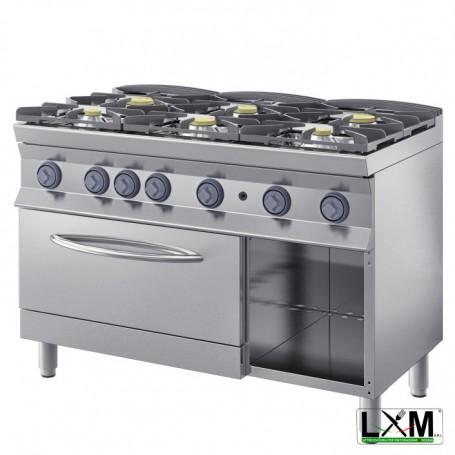 Cucina a fiamma libera - 6 Fuochi A GAS prof 90 cm - Con Forno GN 2/1 e Vano a giorno