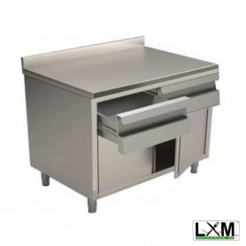 Tavolo da lavoro in acciaio Inox con porte a battente,cassettiera orizzontale e alzatina prof. 70 cm