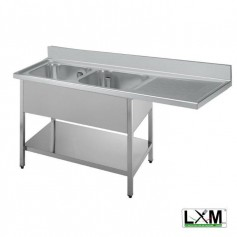 Lavatoio a 2 vasche in acciaio inox con sgocciolatoio a destra,vano lavastoviglie e ripiano prof. 60 cm