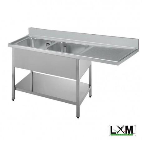 Lavatoio a 2 vasche in acciaio inox con sgocciolatoio a destra,vano lavastoviglie e ripiano prof. 70 cm