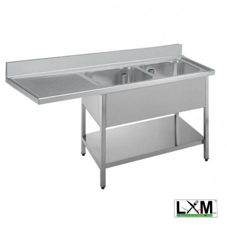 Lavatoio a 2 vasche in acciaio inox con sgocciolatoio a sinistra,vano lavastoviglie e ripiano prof. 70 cm