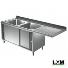 Lavatoio armadiato con porte scorrevoli in acciaio inox a 2 vasche con sgocc. a destra e vano lavastoviglie prof. 60 cm
