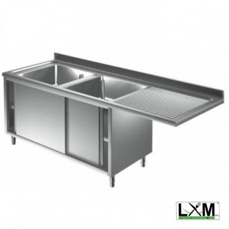 Lavatoio armadiato con porte scorrevoli in acciaio inox a 2 vasche con sgocc. a destra e vano lavastoviglie prof. 70 cm