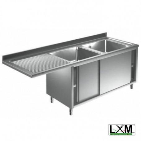 Lavatoio armadiato con porte scorrevoli in acciaio inox a 2 vasche con sgocc. a sinistra e vano lavastoviglie prof. 70 cm