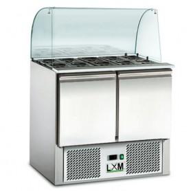 Saladette Refrigerata Statica - 2xGN1/1 + 3xGN1/6 - [+2 +8 C°] - Vetro Curvo