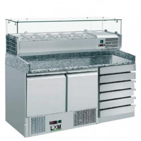 Saladette Refrigerata Statica - [+2 +8 C°] - Con Vetrina 6 x GN 1/4