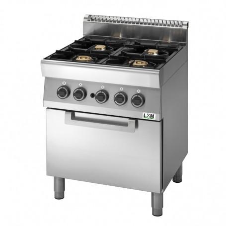 Cucina a gas 4 fuochi su forno elettrico a convezione,bacinelle smaltate linea PROMO