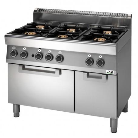 Cucina a gas 6 fuochi su forno a gas,bacinelle smaltate linea PROMO