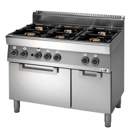 Cucina a gas 6 fuochi su forno elettrico a convezione,bacinelle smaltate linea PROMO