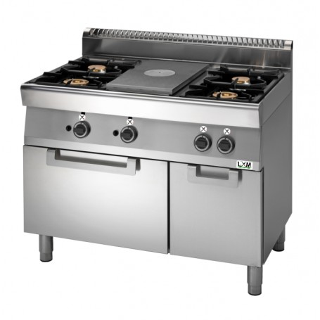 Cucina tuttapiastra a gas,4 fuochi su forno a gas Linea PROMO