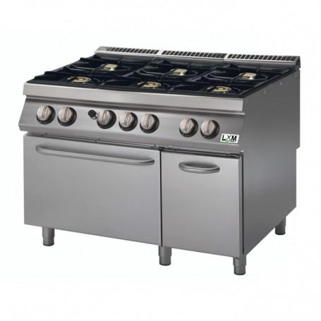 Cucina a gas 6 fuochi su forno a gas bacinelle smaltate