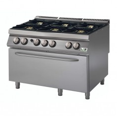 Cucina a gas 6 fuochi su forno a gas grande bacinelle smaltate