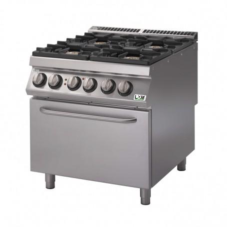 Cucina a gas 4 fuochi su forno elettrico a convezione bacinelle smaltate