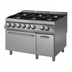 Cucina a gas 6 fuochi su forno elettrico a convezione bacinelle smaltate