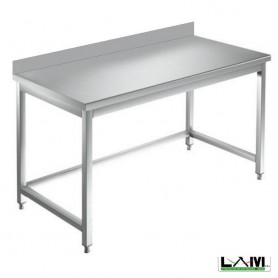 Tavolo in acciaio Inox su gambe con alzatina prof. 70 cm