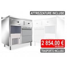 Kit Completo - Mobile Macchina Caffè con Lavastoviglie e Produttore di Ghiaccio