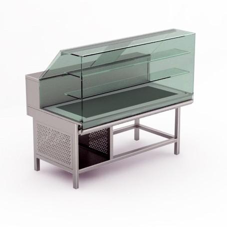 Vetrina Gastronomia - Calda Secca - Vetri Dritti Bassi - Larghezza 1500 mm - Rivestimento Opzionale