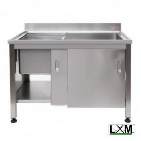 Lavapentole Armadiato con porte scorrevoli e griglia scorrevole - 1300x700x900h mm