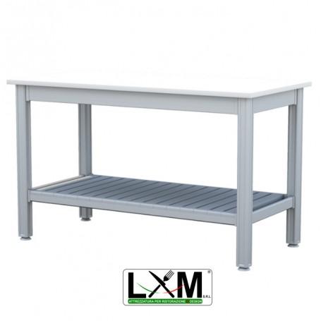 Tavolo da Lavoro - Piano in Polietilene - con Ripiano Inferiore - 100x50xh85 cm