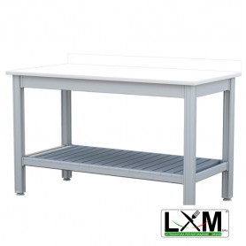 Tavolo da Lavoro - Piano in Polietilene - con Ripiano Inferiore e Alzatina - 100x50xh85 cm