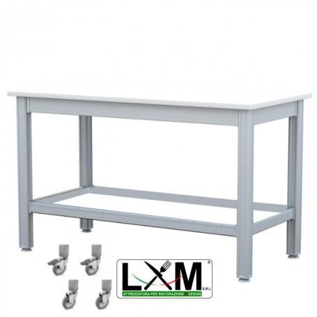 Tavolo da Lavoro - Piano in Polietilene - con Ruote - 120x50xh85 cm