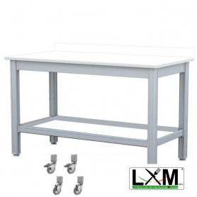 Tavolo da Lavoro - Piano in Polietilene - con Ruote e Alzatina - 100x50xh85 cm