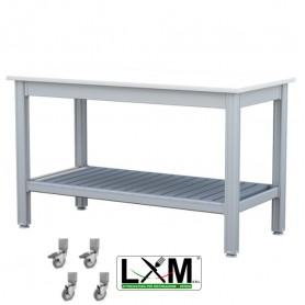Tavolo da Lavoro - Piano in Polietilene - con Ruote e Ripiano Inferiore - 100x50xh85 cm