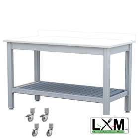 Tavolo da Lavoro - Piano in Polietilene - con Ruote, Ripiano Inferiore e Alzatina - 100x50xh85 cm