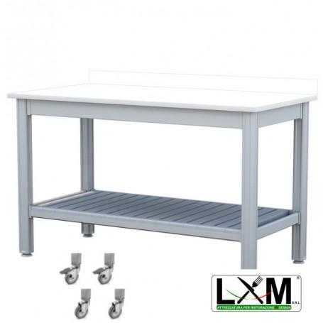 Tavolo da Lavoro - Piano in Polietilene - con Ruote, Ripiano Inferiore e  Alzatina - 140x70xh85 cm