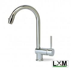 Miscelatore lavello con doccia estraibile canna alta - H34 cm