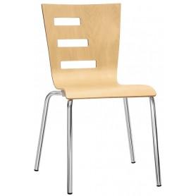 Sedia struttura in acciaio cromato diametro 22mm scocca in legno multistrato