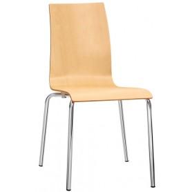 Sedia struttura in acciaio cromato diametro 22mm scocca in legno multistrato - Versione 2