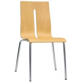 Sedia struttura in acciaio cromato diametro 22mm scocca in legno multistrato - Versione 3